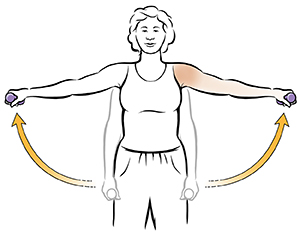 Woman doing lateral shoulder lift exercises with a dumbbell.