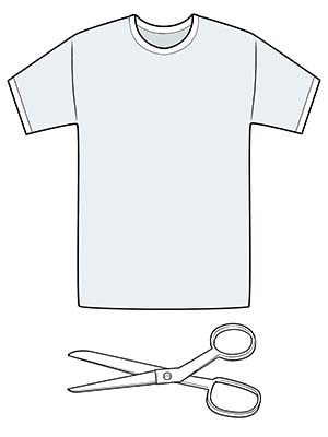 T-shirt and pair of scissors